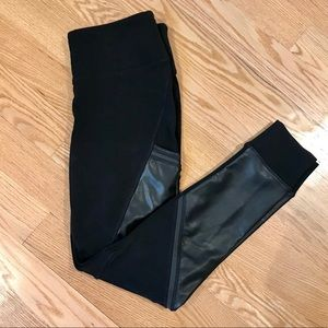 Athleta Fleece Lined / Faux Leather Leggings